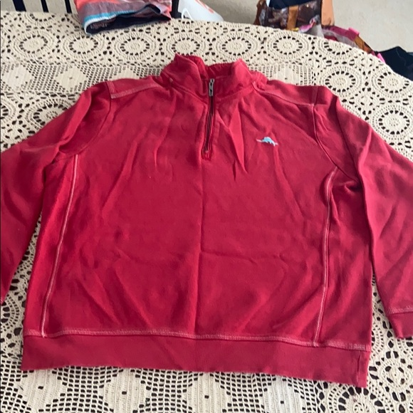 Tommy Bahama mens XL 3/4 zip pullover red